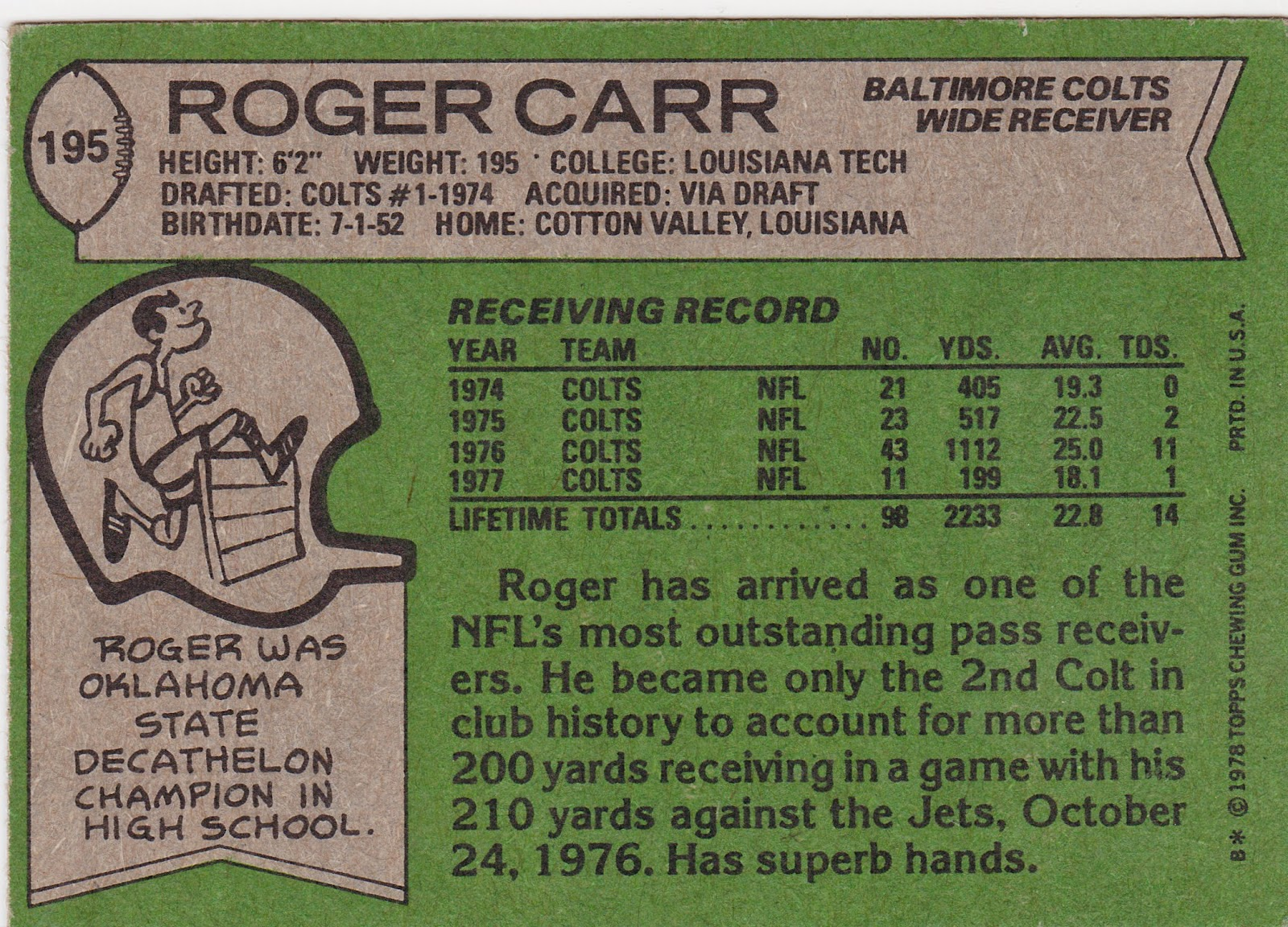 The Five Tool Collector: Baltimore Colts Card History Pt  8 The Late 70s