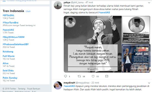 Tak Percaya UAS Selingkuh, Tagar #saveUAS Trending Topic