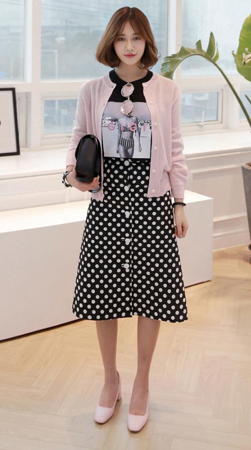 Polka Dot Button-Front A-Line Midi Skirt