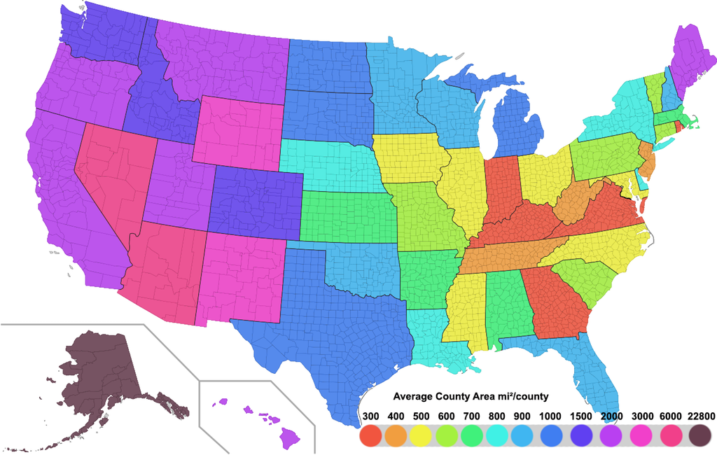 States of the USA by average county area