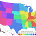 States of the USA by average county area (mi2/county)