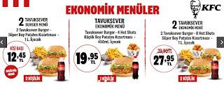 kfc menü fiyat ve kampanyalar
