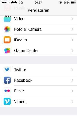 Aplikasi Pengaturan di iPhone 4
