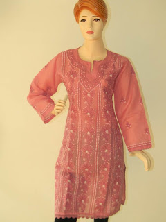 Lucknowi Chikan Pink Cotton Kurta