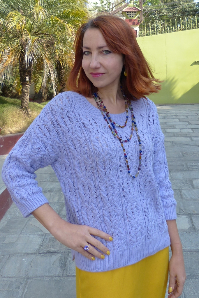 Cotton lilac sweater and multi-stone necklace