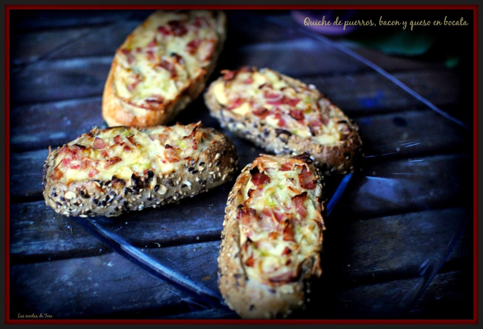 Quiche de puerros, bacon y queso en bocata 01