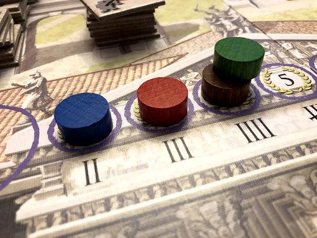 Trajan board game senate track, board game review and photo by Benjamin Kocher