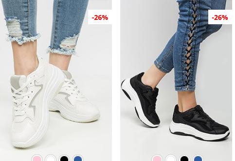 Adidasi la moda de femei cu talpa groasa ieftini negri, albi