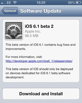 Apple iOS 6.1 Beta 2 Firmware