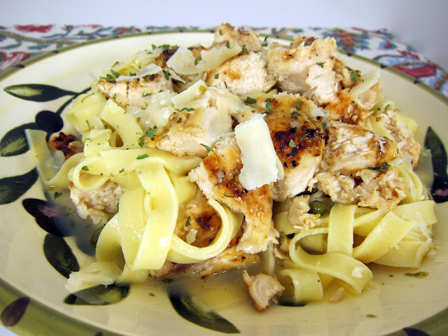 Grilled Chicken Piccata Pasta Recipe - lemon pepper marinated chicken, grilled - tossed with pasta in a lemon, garlic and caper sauce - Ready in 15 minutes!