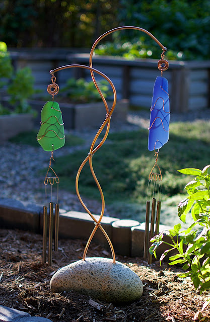 Freestanding double wind chime handcrafted by Coast Chimes