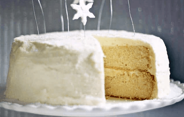 Moist and white Christmas cake