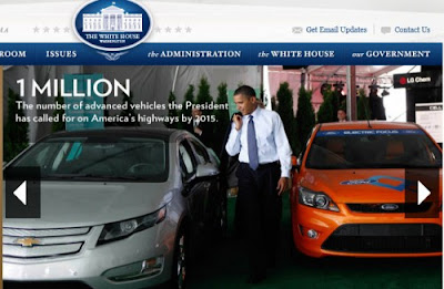President Obama admires a Chevy Volt - Source: White House