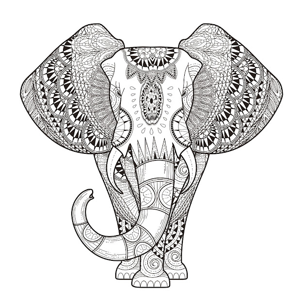 Elephant Adult Coloring Page Thumbnail