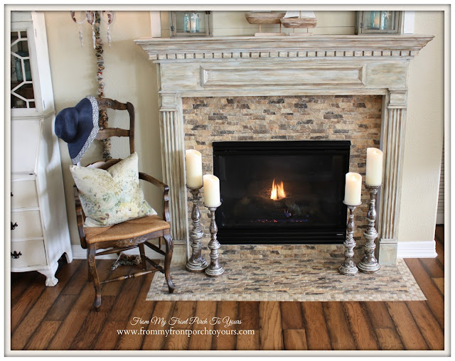 Simple Nautical Fireplace Mantel Display-Luminara Candles-Balsam Hill-Farmhouse Style- From My Front Porch To Yours