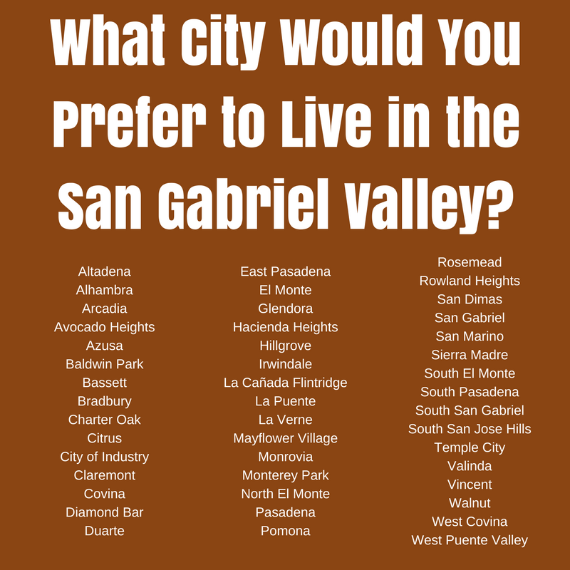 What City Would YOU Prefer to Live in the San Gabriel Valley