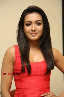 Actress Catherine Tresa Latest Pos in Red Short Dress at Intex Air Conditioners Launch  0005.jpg