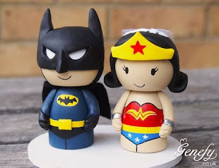 Funny Batman Groom and Wonder Woman Bride Custom Wedding Cake Topper