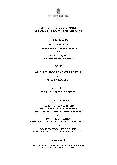 christmas eve dinner menu