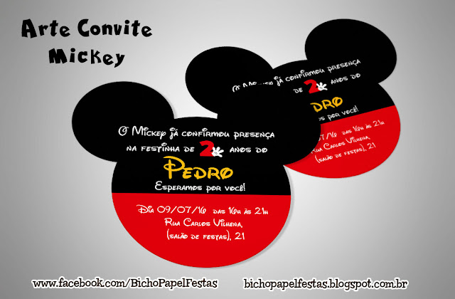 Convite orelha cabeça Mickey