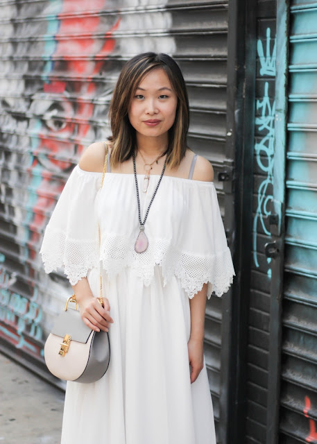 Off-the-Shoulder Dress with Boho Necklaces