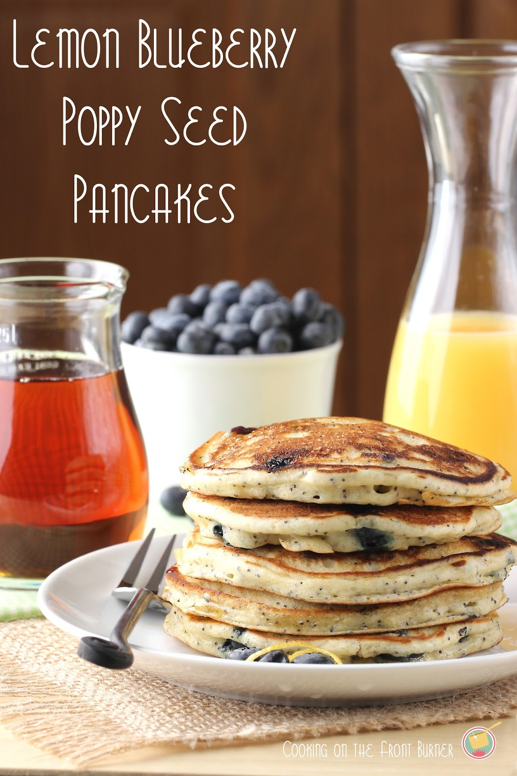 Lemon Blueberry Poppy Seed Pancakes - light and fluffy pancakes perfect for breakfast for brunch | Cooking on the Front Burner #pancakes #lemonblueberrypancakes