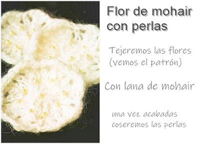 Flores tejidas lana de mohair con perlas