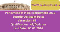 Parliament of India Recruitment 2016