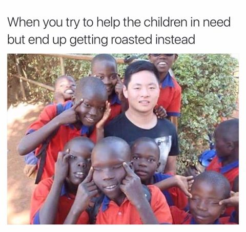 When you try to help children in need but end up getting roasted instead.