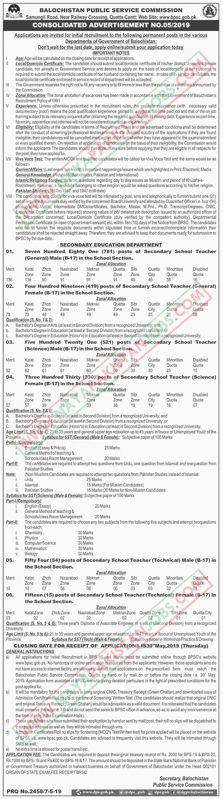 BPSC Educators Jobs 2019, bpsc sst jobs , Educators SST Jobs 2019 in Secondary Education Department via BPSC