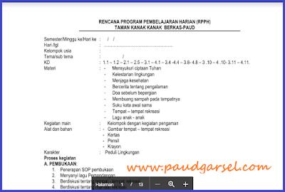 RPPH PAUD Usia 4-5 Tahun Tema Alam Semesta Semester 2 Edisi 2018