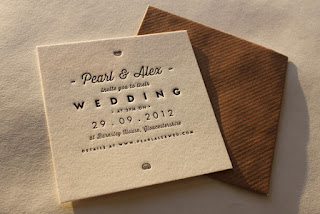 unique letterpress wedding invitation