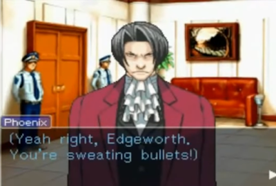Phoenix Wright Ace Attorney Miles Edgeworth sweating bullets