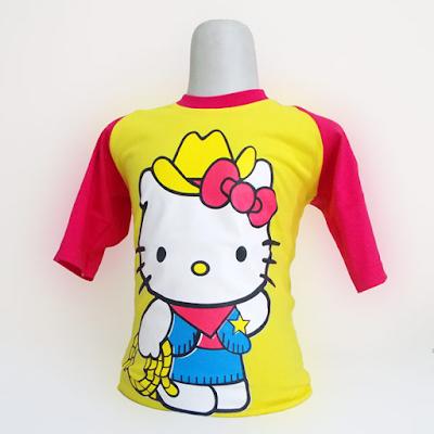 Kaos Raglan Anak Karakter Hello Kitty Bertopi Kuning