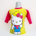 Hello Kitty Bertopi 1 - Kaos Raglan Anak Karakter Hello Kitty Bertopi Kuning (KAK-HKT-01)