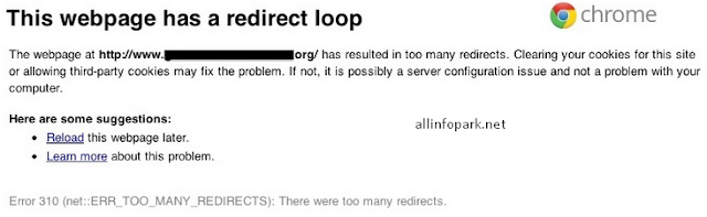 this webpage has a redirect loop