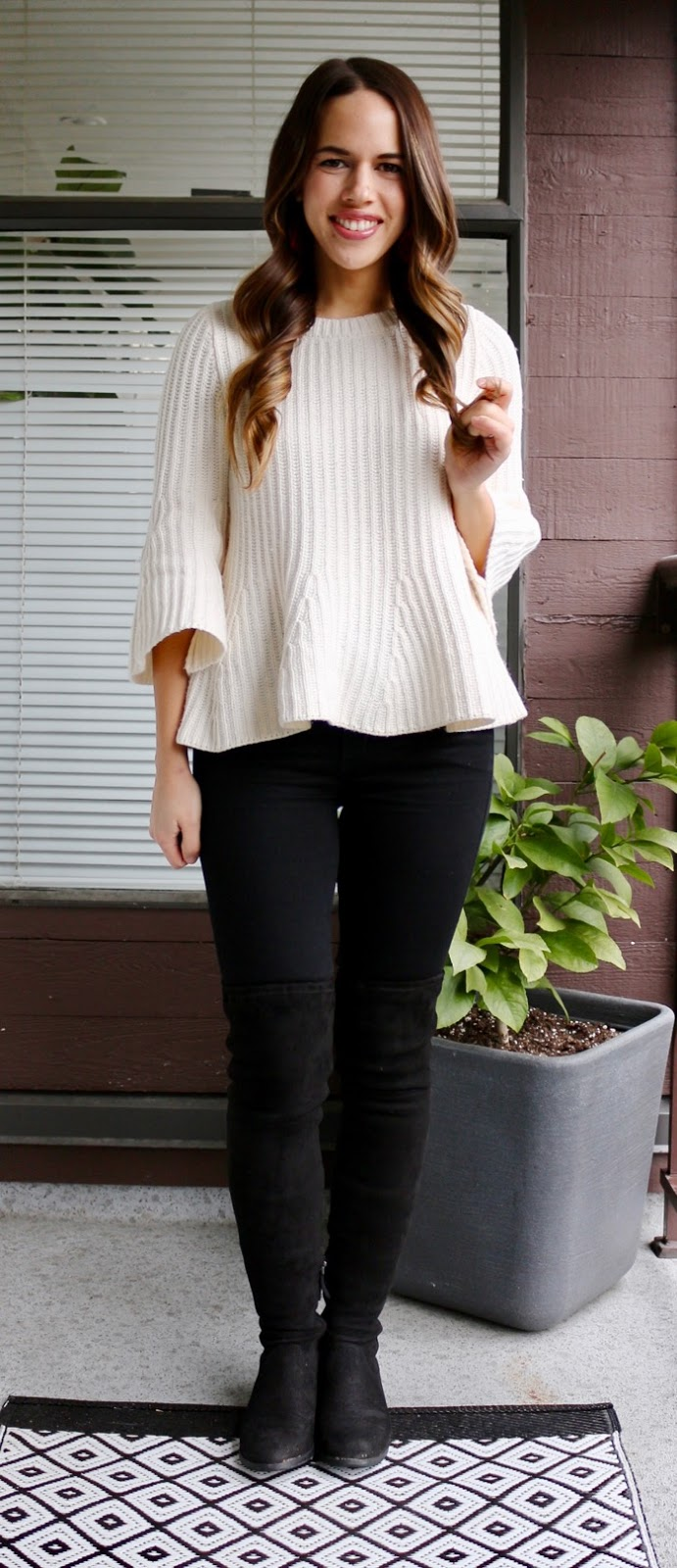 Jules in Flats - Peplum Sweater with OTK Boots for Work