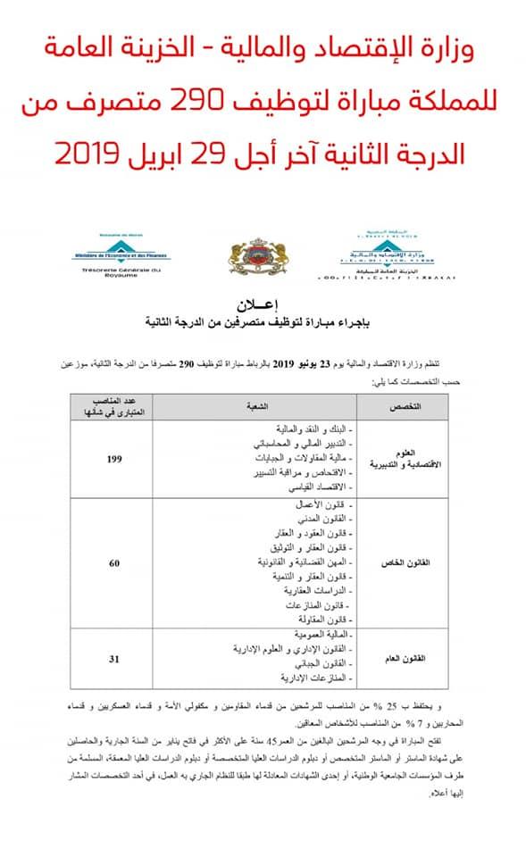 وزارة الإقتصاد والمالية - الخزينة العامة للمملكة مباراة لتوظيف 290 متصرف من الدرجة الثانية آخر أجل 29 ابريل 2019