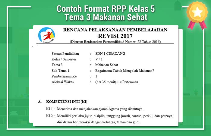 Contoh Format RPP Kelas 5 Tema 3 Makanan Sehat