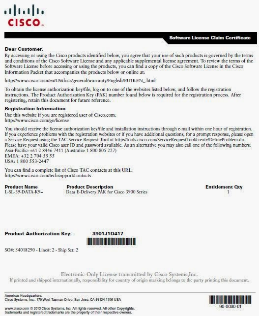 Cisco Integrated Services Routers Licensing - 3945E as example