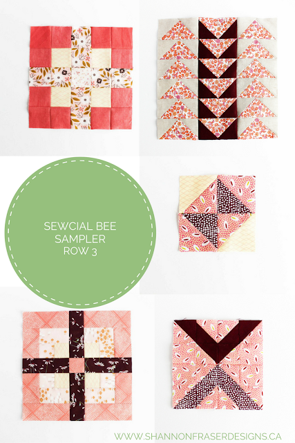 Sewcial Bee Sampler Row 3 Roundup | Shannon Fraser Designs | Modern Quilting | Sew Along | Working My Stash Off | Quilting Fabric |