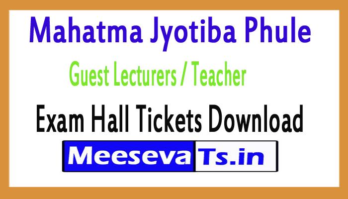 Mahatma Jyotiba Phule Guest Lecturers / Teacher Exam Hall Ticket 2018