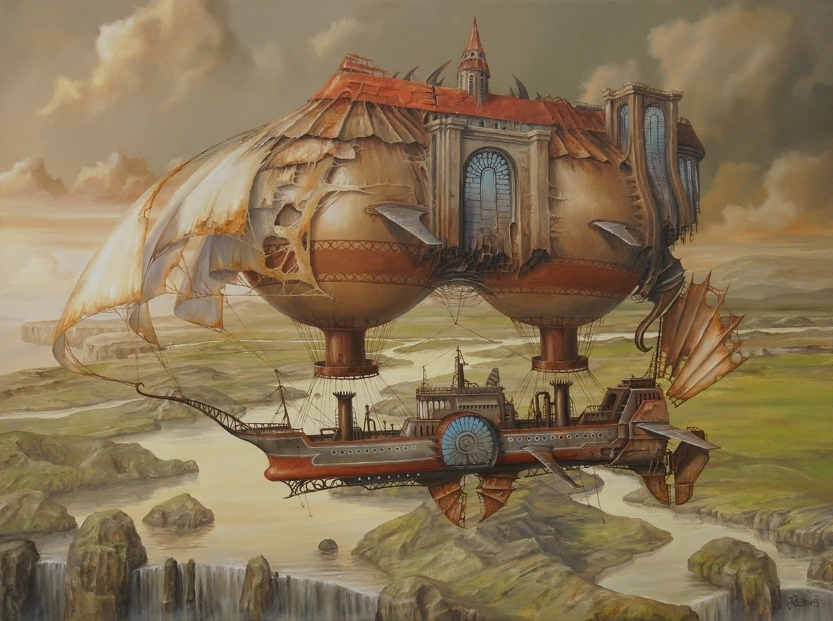 05-Flight-over-the-Delta-of-the-White-River-Jarosław-Jaśnikowski-Paintings-of-Flying-Machines-and-Architectural-Surrealism-www-designstack-co