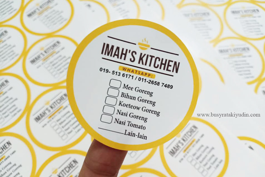LABEL STICKER IMAH'S KITCHEN 500 KEPING