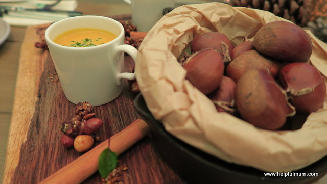 winter soup and roasted chestnuts