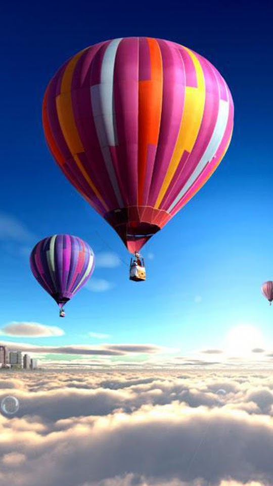Colorful Hot Air Balloons Over The Clouds   Galaxy Note HD Wallpaper
