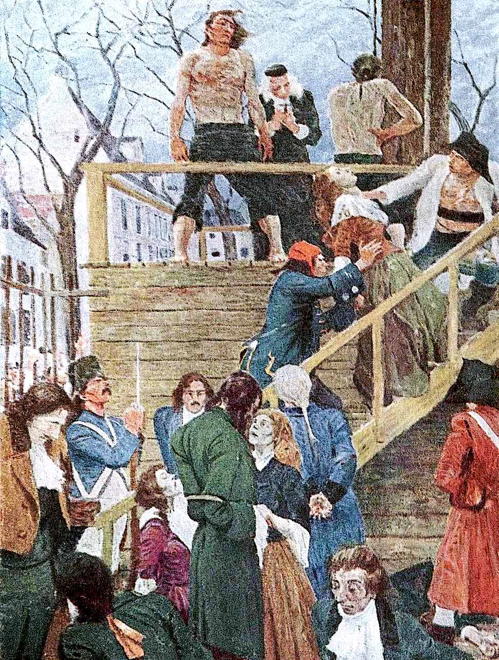 a Harvey Dunn illustration of the French revolution & guillotine