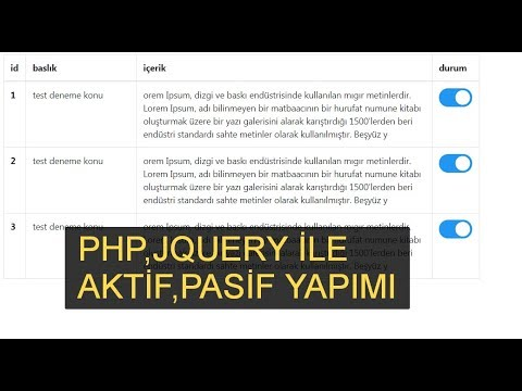 php,jquery ile konu durumunu onaylı,onaysız yapma