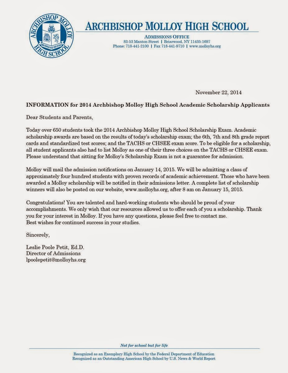 ... HS, College, Life, and More...: MOLLOY HIGH SCHOOL ACCEPTANCE LETTER