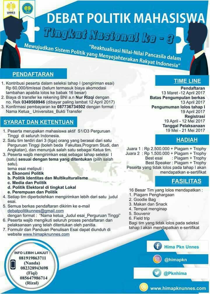 Lomba Debat Politik Mahasiswa Nasional 2017 Info Lomba 2019 Terbaru